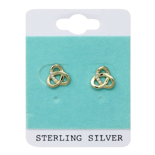 Sterling Silver CZ Embellished Triangle Twist Stud Earrings