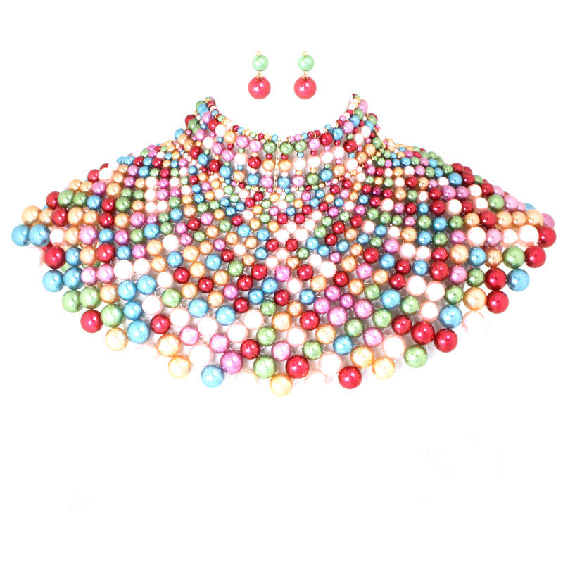 Pearl Armor Bib Choker Necklace