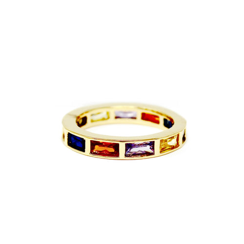 Multi Color Rectangular Shape CZ Pave Ring