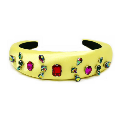 Multi Color Glass Stone Embellished Padded Headband