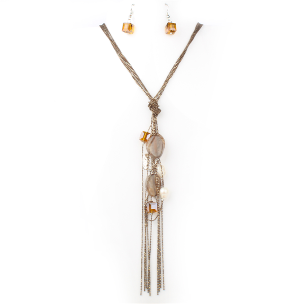 Multi Charm Dangled Y Chain Necklace