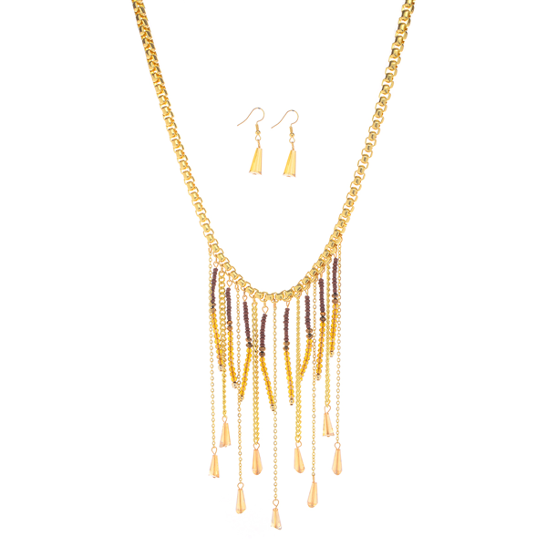 Glass Beads Chain Fringe Necklace