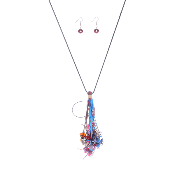 Bohemian Semi Precious Beads Tassel Necklace