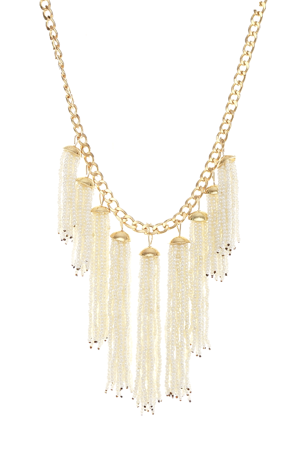 Bohemian Seed Bead Tassel Fringe Short Collar Necklace