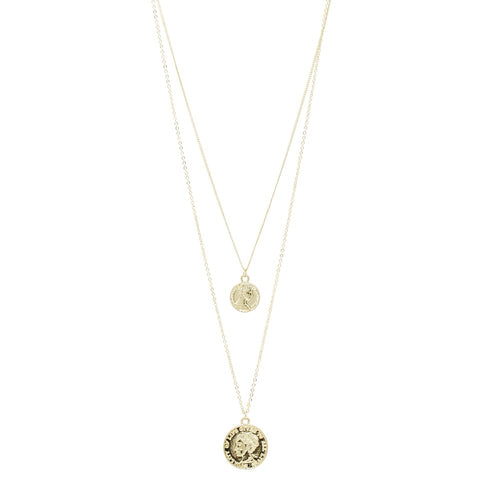 Double Coin Pendant Long Layered Necklace