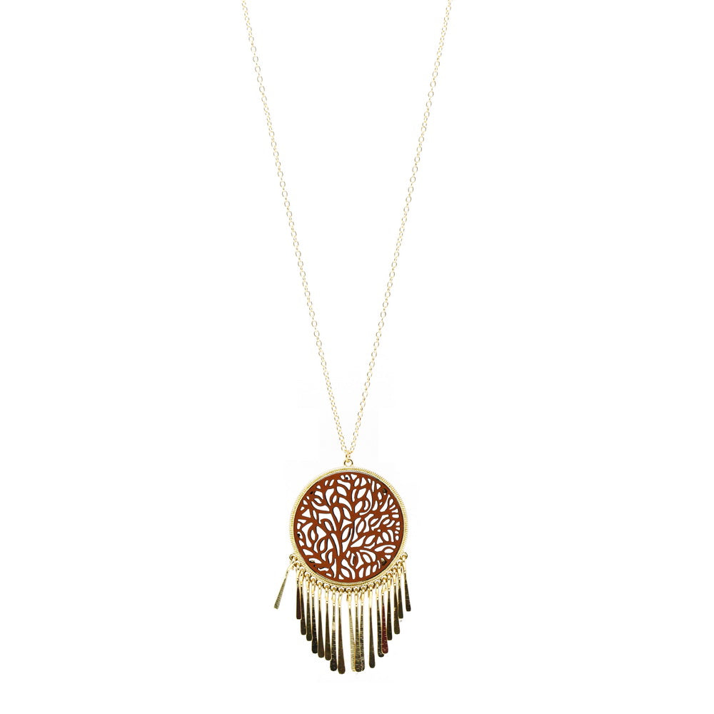 Dream Catcher Laser Cut Metal Paved Leather Pendant Necklace