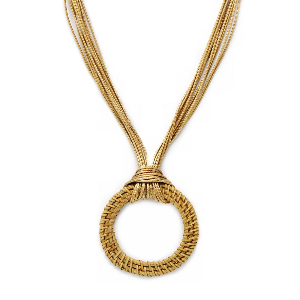 Basket Weave Hoop Multi Row Cord Necklace