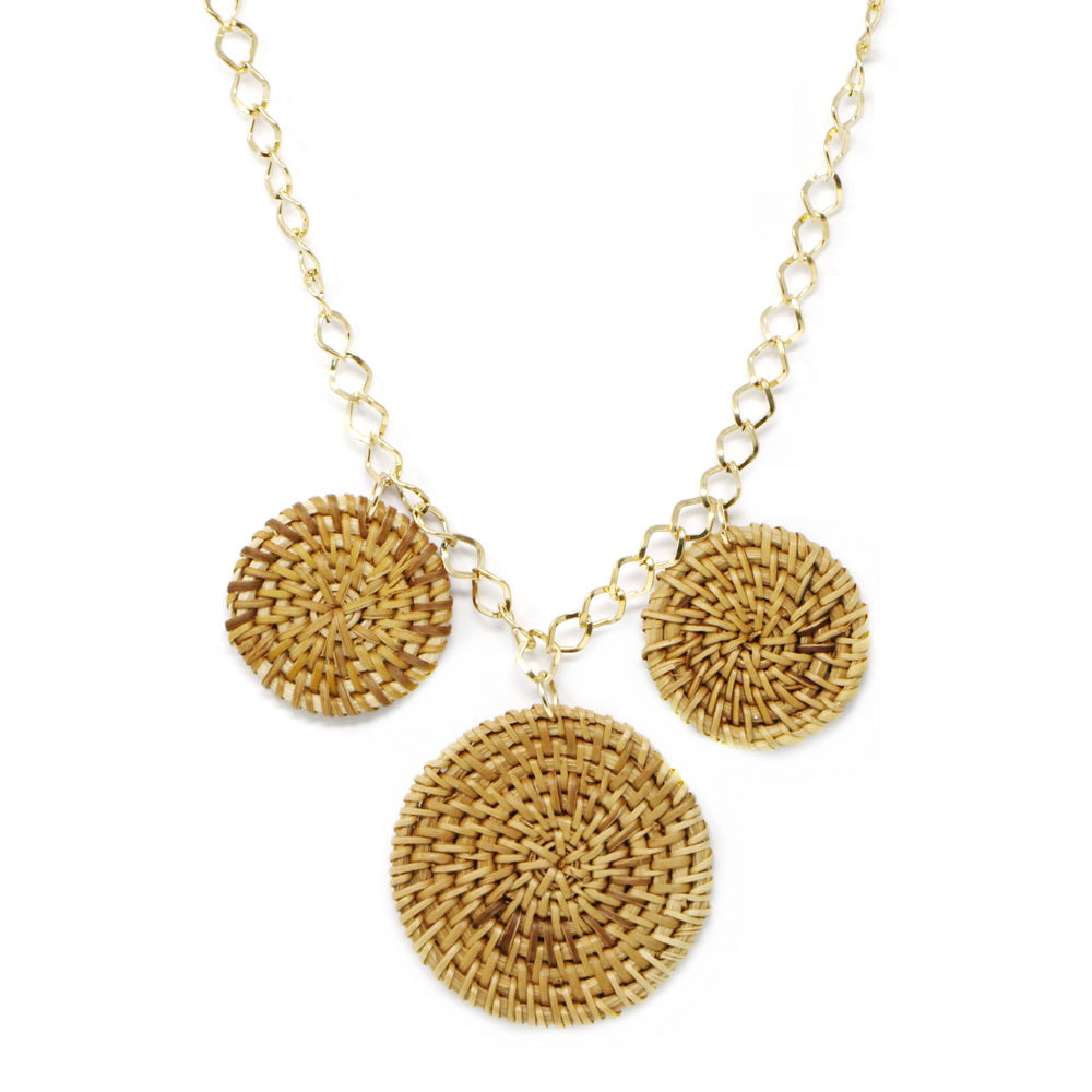 Basket Weave Straw Disc Short Necklace