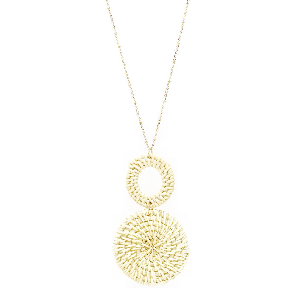 Basket Weave Straw Disc Pendant Long Necklace