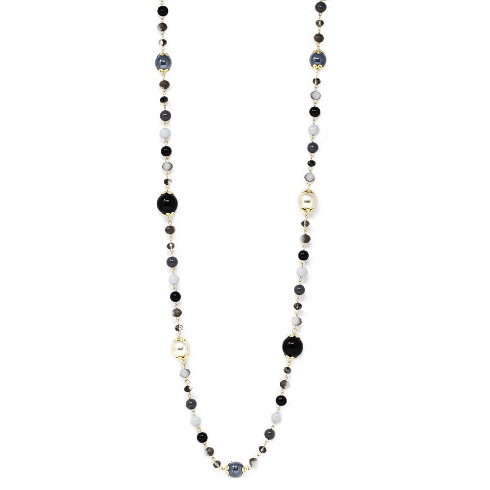 Glass And Plastic Beaded Long Necklace