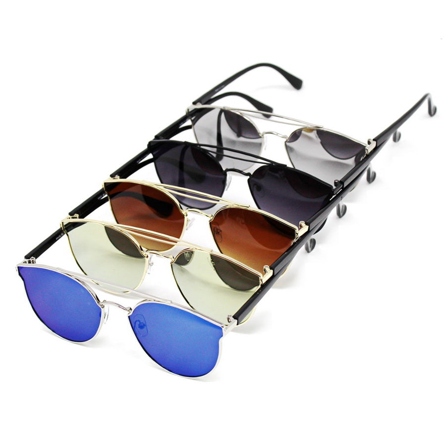 Metal Bar Topped Cat Eye Assorted Fashion Sunglasses (12 Pieces)