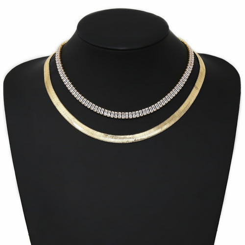 CZ Pave Herringbone Chain Layered Short Necklace