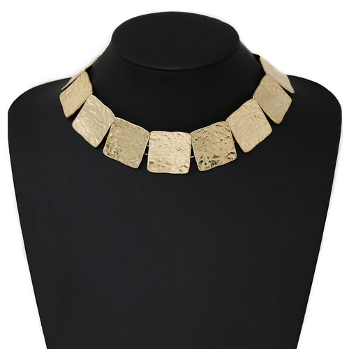 Textured Metal Square Plate Collar Necklace