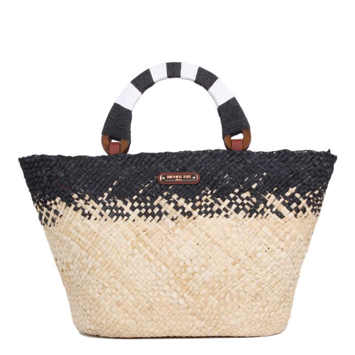 NATAYLA COLOR BLOCK STRAW SHOPPER BAG