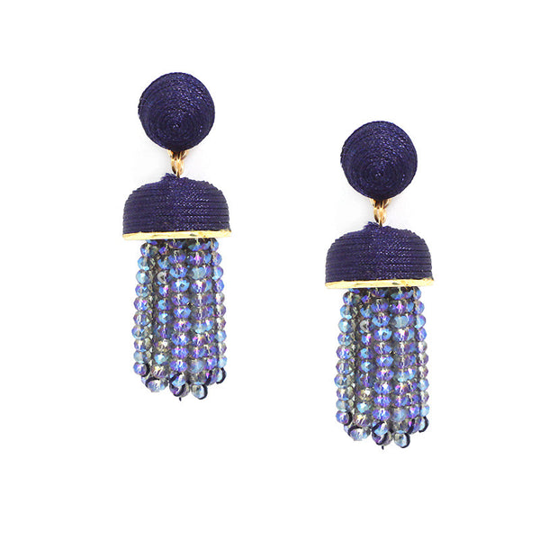 Thread Ball Faceted Bead Tassel Drop Earrings