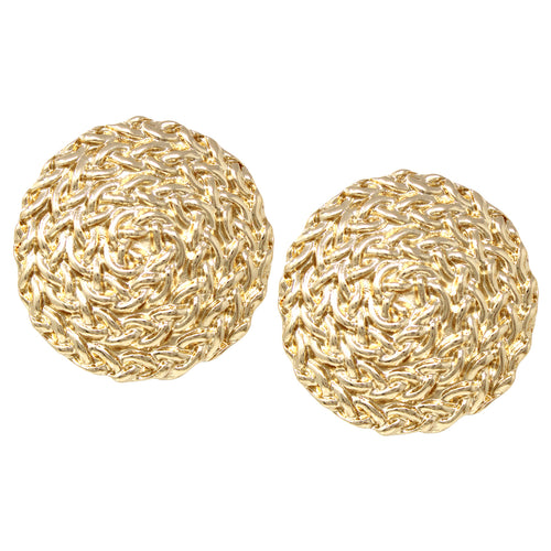 Chunky Braided Texture Metal Disc Clip On Earrings