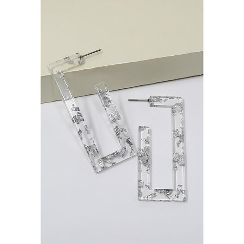 Rectangle Flake Acetate Hoop Earrings