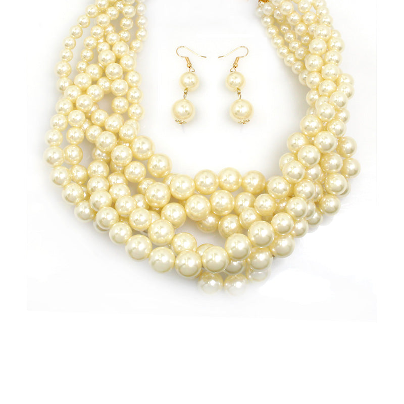 Multi Strands Braided Classic Pearl Necklace