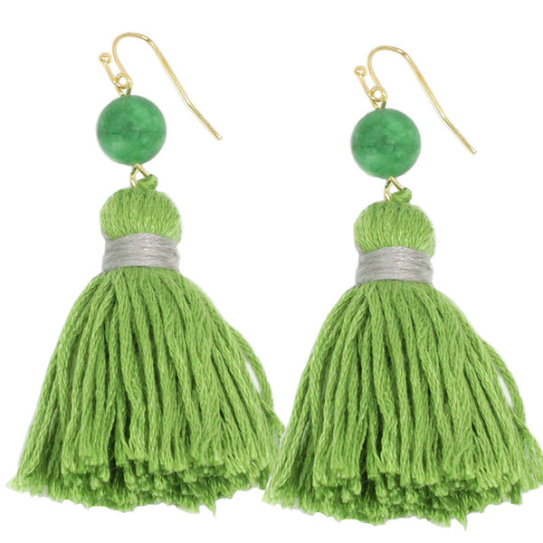 Thread Tassel Earrings with Semi Precious Stone