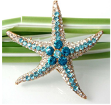 Starfish Brooch Fashion Rhinestone Blue Crystal Prom Wedding Gift Pin - The Accessory Nook  - 2