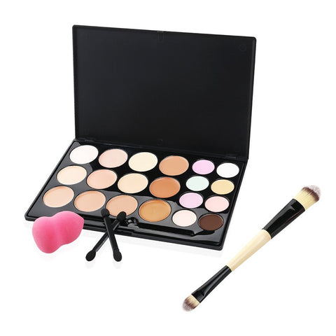 20 Color Cream Contour Highlighting Makeup Kit with Beauty Professional Cosmetic Blender & Brush Set - The Accessory Nook  - 1