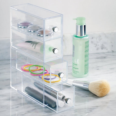4 Drawer Organizer Tower Vanity Clear Acrylic Cabinet to Hold Makeup Beauty Products - The Accessory Nook  - 1