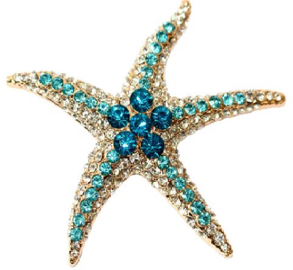 Starfish Brooch Fashion Rhinestone Blue Crystal Prom Wedding Gift Pin - The Accessory Nook  - 1