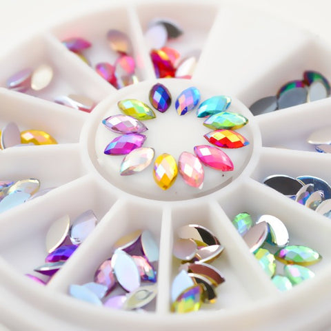 120pcs Box Colorful Rhombus Nail Studs 3D Nail Decoration In Wheel Cosmetic - The Accessory Nook