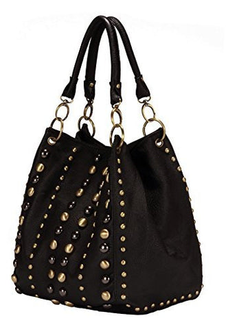 Black Fashion Studded Purse Fashion Zipper Pocket Trendy Handbag - The Accessory Nook  - 1