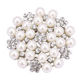 Fashion Jewelry Simulation Pearl Crystal Brooch Pin Perfect Wedding Prom Gift Idea - The Accessory Nook  - 1