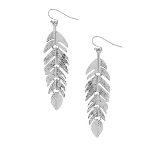 Chic Bohemian Womens Feather Leaf Drop Dangle Fashion Trendy Statement Earrings in Silver - The Accessory Nook  - 1