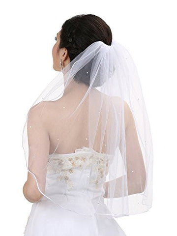 Rhinestone Luxury Tier Crystal Edge Shoulder Length Bridal Veil - White - The Accessory Nook  - 1