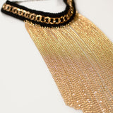 "Black & Gold Tassel Chain Choker Gold Plated Bib Gothic Lolita Necklace 12"" Trendy - The Accessory Nook  - 2"