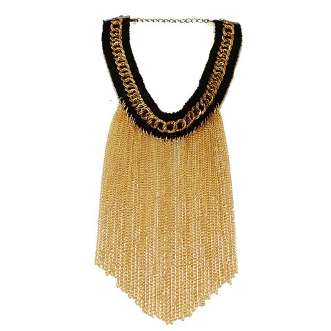 "Black & Gold Tassel Chain Choker Gold Plated Bib Gothic Lolita Necklace 12"" Trendy - The Accessory Nook  - 1"