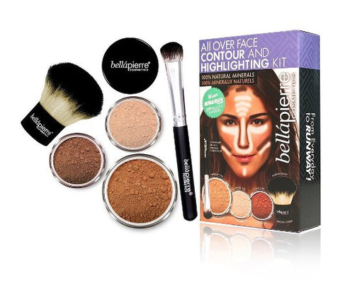 Mineral Face Contour Powder & Highlighting Brush Beauty Makeup Cosmetic Kit - The Accessory Nook