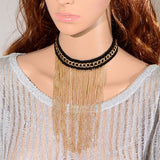 "Black & Gold Tassel Chain Choker Gold Plated Bib Gothic Lolita Necklace 12"" Trendy - The Accessory Nook  - 4"