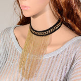 "Black & Gold Tassel Chain Choker Gold Plated Bib Gothic Lolita Necklace 12"" Trendy - The Accessory Nook  - 3"