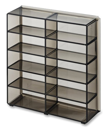 Acrylic Oversized Compact Organizer 10 Space Makeup Storage unit Clear - Black - The Accessory Nook  - 1