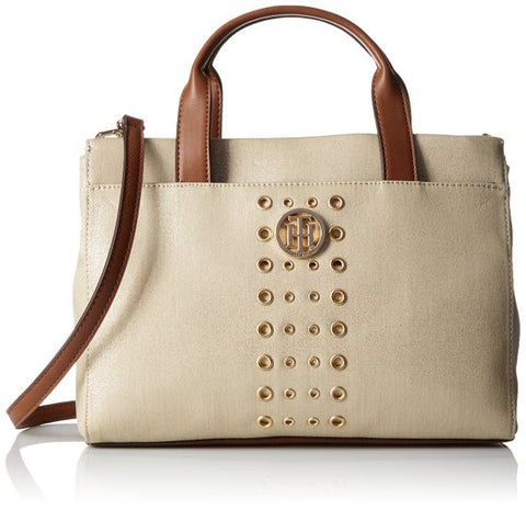 The Tommy Hilfiger Metallic Snap Closure Fashion Trendy Handbag Shopper Cotton Canvas - The Accessory Nook  - 1