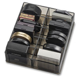 Acrylic Oversized Compact Organizer 10 Space Makeup Storage unit Clear - Black - The Accessory Nook  - 3