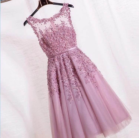 Formal T-Length Dusty Pink Beaded Lace Tulle Appliques Short Prom Party Dress - The Accessory Nook  - 1