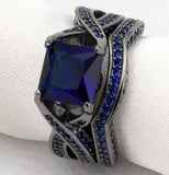 Black Sterling Silver Princess Cut CZ Solitaire Cocktail Ring Set Sapphire Color Wedding Gift Set - The Accessory Nook  - 2