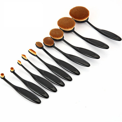 Black Professional 10 PC Makeup Soft Oval Foundation Contour Cream Brush Set - The Accessory Nook  - 1