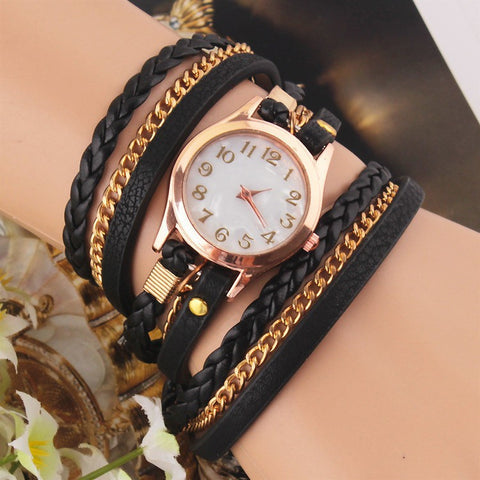 Black Multilayer Faux Leather Strap Band Women Bracelet Quartz Wrist Watch - The Accessory Nook