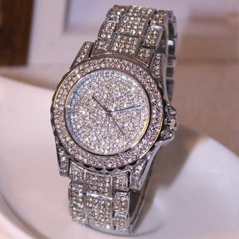 Luxury Silver Women Rhinestone Ceramic Crystal Bling Ladies Quartz Wristwatch - The Accessory Nook  - 1