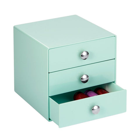 3 Drawer Storage Organizer Solution Mint Color Beauty Makeup Fashion Jewelry Crafts - The Accessory Nook  - 1