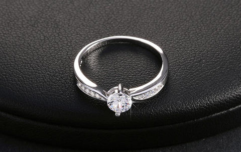 Wedding Ring Luxury Austria Crystal Genuine 925 Sterling Silver Ring 3 Layer Platinum - The Accessory Nook  - 2