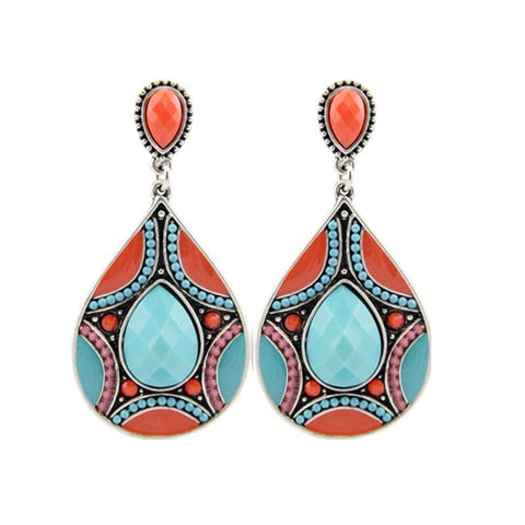 Ladies Ethnic Tibetan Silver Oval Rimous Turquoise Crystal Drop Dangle Earrings - The Accessory Nook  - 1