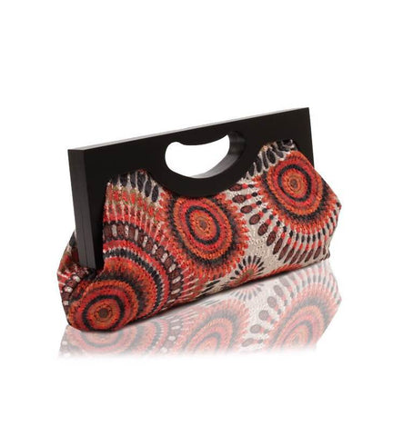Wood Framed Embroidered Trendy Chic Fashion Embroidered Pattern Handbag Clutch - The Accessory Nook