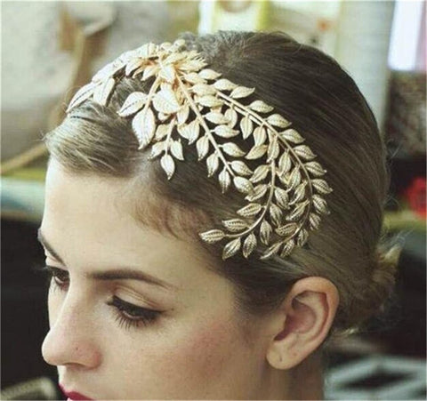 Bridal Gold Crown Tiaras Fashion Leaves Shape Vintage Wedding Bridal Headbands Headwear - The Accessory Nook  - 1